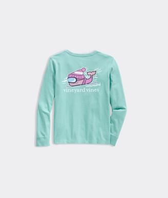 Vineyard Vines Girls' Glow Ski Whale Long-Sleeve Pocket Tee