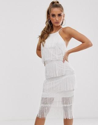 Asos Design DESIGN halter column fringe and lace midi dress-White