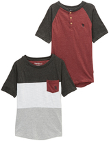 English Laundry Heather Red Raglan Tee & Black Color Block Crewneck Tee - Boys