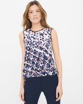 White House Black Market Geo-Print Layered A-line Shell Top