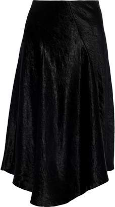 Vince Asymmetric Crinkled-satin Skirt