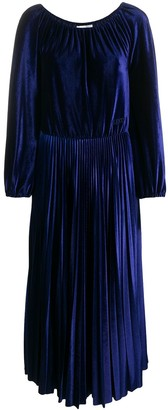Valentino Pleated Velvet Midi Dress