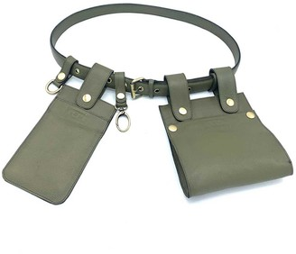 L2r The Label Double Belt Bag In Rescued Green Leather