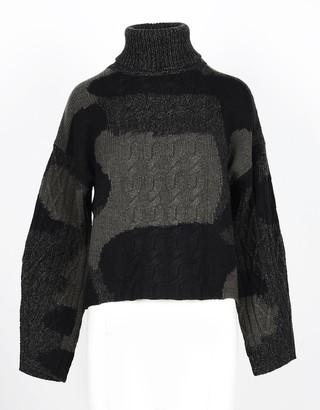 Lamberto Losani Green Camouflage 100% Cashmere Women's Turtleneck Sweater
