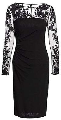 David Meister Women's Long-Sleeve Illusion Cocktail Dress