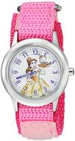 Disney Girl's 'Princess Belle' Quartz Stainless Steel and Nylon Casual Watch, Color:Pink (Model: WDS000187)