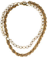 Miriam Haskell Pearl & Chain Double Strand Necklace