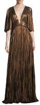 J. Mendel Metallic Pleated Split-Sleeve Gown