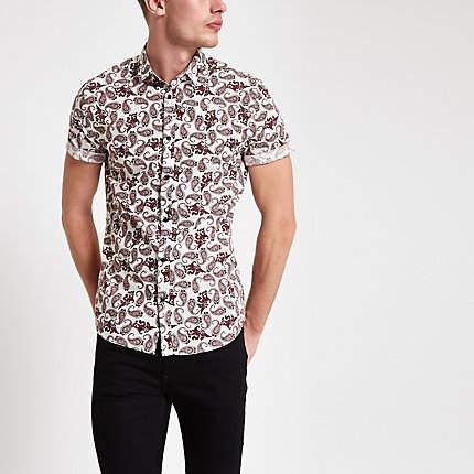 River Island Mens Burgundy paisley print short sleeve shirt