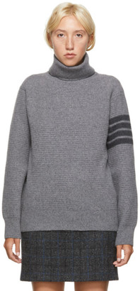 Thom Browne Grey Wool and Cashmere 4-Bar Turtleneck