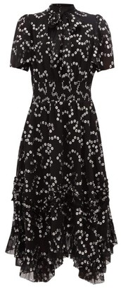 Rebecca Taylor Nuage Polka-dot Fil-coupe Silk-blend Dress - Black Silver