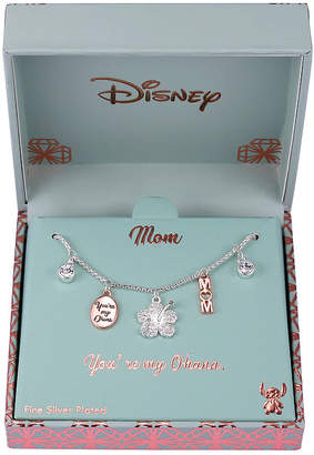 Disney Collection Crystal Pure Silver Over Brass 18 Inch Box Lilo & Stitch Pendant Necklace