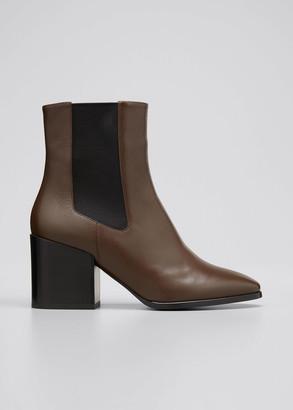 Dries Van Noten 70mm Gored Leather Ankle Booties