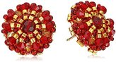 Miguel Ases Rubellite Bead and 14k Gold Filled Small Button Earrings