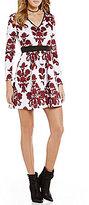 B. Darlin Floral Scroll Pattern Skater Dress