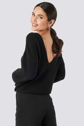 NA-KD Knitted Deep V-neck Sweater Brown
