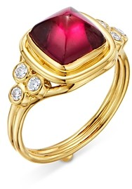 Temple St. Clair 18K Yellow Gold High Classic Sugar Loaf Ring with Rubelite & Diamonds