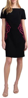 Trina Turk Claire Side-Print Crepe Sheath Dress