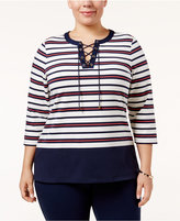 Charter Club Plus Size Striped Lace-Up Top, Only at Macy's