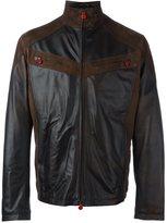Kiton zipped panelled leather jacket