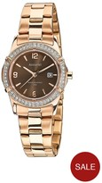Accurist Chocolate Dial Stone Bezel Rose Bracelet Ladies Watch