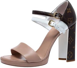 Louis Vuitton Tri Color Monogram Canvas and Leather Double Strap Sandals Size 38