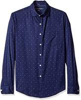 U.S. Polo Assn. Men's Long Sleeve Slim Fit Dotted Swiss Button Down Sport Shirt