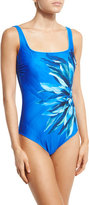 Gottex Lanai Floral-Print One-Piece Swimsuit, Multi/Blue