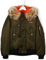 DSQUARED2 hooded puffer jacket - kids - Feather Down/Nylon/Polyester/Coyote Fur - 16 yrs