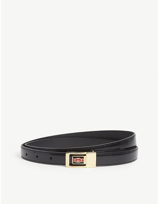 Gucci Mens Black and Gold GG Plaque Leather Belt, Size: 28