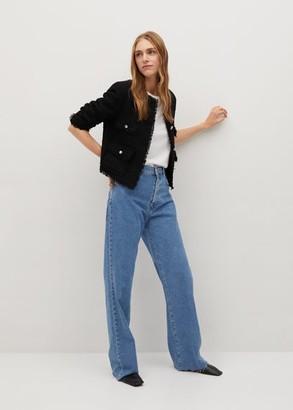 MANGO Pocket tweed jacket medium brown - XS - Women