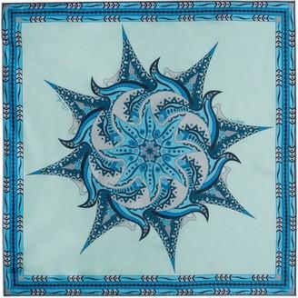 Gisy Water Mandala Neckerchief Silk Twill Scarf