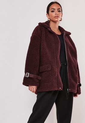 Missguided Red Borg Teddy Chunky Aviator Coat