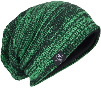 Hisshe Men's Knit Beanie Slouch Baggy Skull Cap Vintage Long Hip-hop Winter Hat (Green)(Size:M)