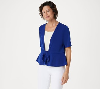 Every Day by Susan Graver Liquid Knit Short Sleeve Tie-Front Shrug