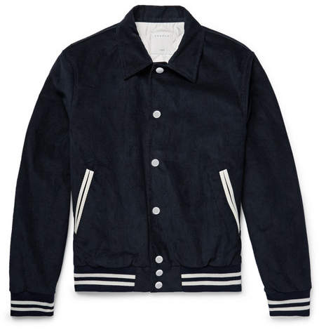 Sandro Appliquéd Leather-Trimmed Cotton-Blend Corduroy Blouson Jacket