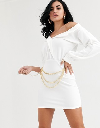 ASOS DESIGN chain detail off shoulder bodycon mini dress
