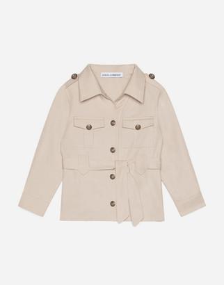 Dolce & Gabbana Cotton Safari Jacket With Crown Crest Buttons
