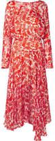 Preen by Thornton Bregazzi Norma Printed Devoré Silk-blend Chiffon Midi Dress - Tomato red