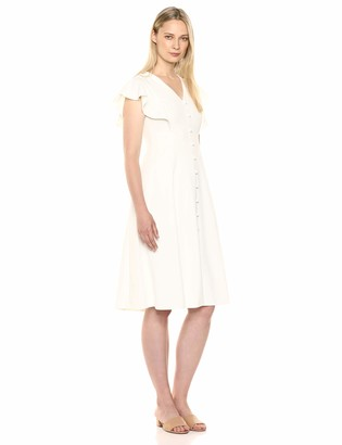 Calvin Klein Women's Flutter Sleeve V-Neck Midi with Button Front Detail Dress