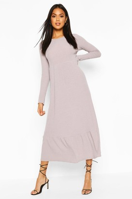 boohoo Soft Rib Ruffle Tiered Midaxi Dress