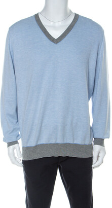 Brunello Cucinelli Light Blue Cotton V Neck Sweater 4XL