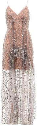 Self-Portrait Sequins Tulle Maxi Dress