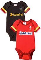Brecrest Fashion Baby-Boys Welsh Rugby Union Bodysuit 2 pack, Red and Black