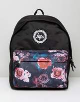Hype Backpack In Black With Floral Panel