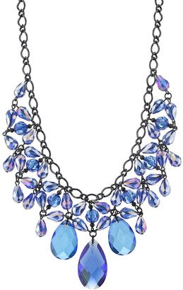 1928 Blue Faceted Statement Bib Necklace