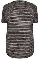 Yours Clothing YoursClothing Plus Size Womens Glitter Fine Knit Top Zip Cold Shoulder Detail