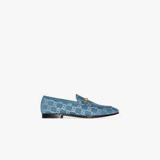 Gucci blue Jordaan GG canvas loafers