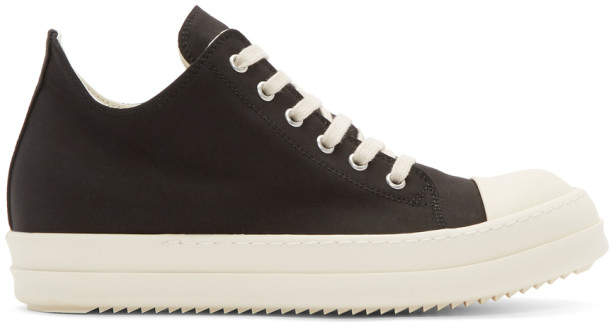 Rick Owens Black and Off-White Low Sneakers
