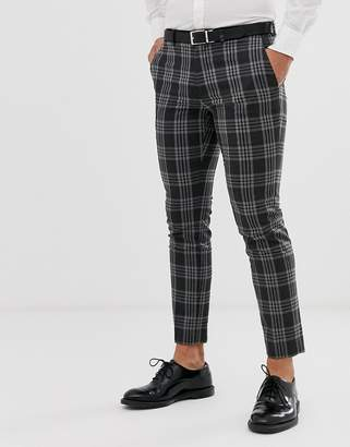 Burton Menswear slim fit suit trousers in grey tartan check